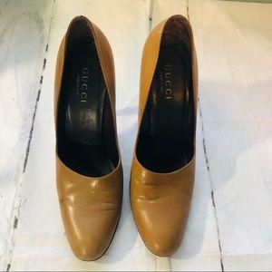 Authentic Gucci pumps shoes camel sz 9b fit  like8